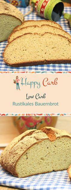 Sehr herzhaft und würzig ist dieses Brot. Mit Kartoffelfasern, etwas Senf. Low Carb Rezepte von Happy Carb. https://happycarb.de/rezepte/backen/rustikales-bauernbrot/