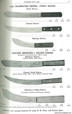 It's fun to see how our catalog has evolved over the past 100+ years. It's also interesting to see just how much the prices of things have changed over the past 100 years. Here are some of the knives we used to carry - and still carry today!