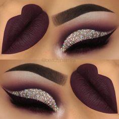 purple glitter cutcrease makeup with liquid lipstick eyeliner. - throp -Dark purple glitter cutcrease makeup with liquid lipstick eyeliner. Glitter Eye Makeup, Prom Makeup, Eyeshadow Makeup, Wedding Makeup, Hair Makeup, Eyeshadows, Eyeshadow Palette, Brown Eyeshadow, Eyeshadow Brands