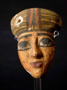 """Egyptian Wooden Funerary Mask - EM.002 Origin: Egypt Circa: 600 BC to 300 BC  Dimensions: 7"""" (17.8cm) high  Collection: Egyptian Art Medium: Wood Condition: Very Fine"""