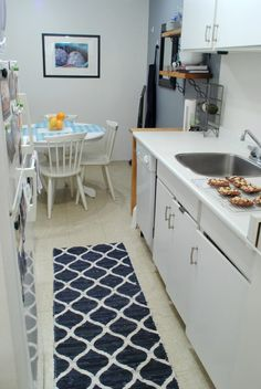 Ordinaire Narrow Kitchen Runner Rug Blue And White