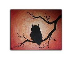 """Owl In a Tree Acrylic painting on 8"""" x 10"""" canvas. """"Whooo's Tree"""" Video Available: http://youtu.be/YC-5ElH7pno  #AcrylicPaintingOnCanvas #OwlPainting #Silhouette #SilhouettePainting"""