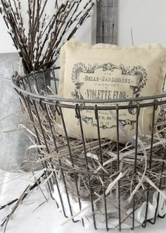 wire basket and vint