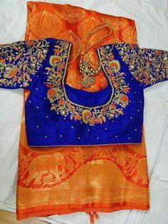 Blouse Designs by RE Tailors ~~~~~~~~~~~~~~~~~~~~~~  Brocade Blouse Designs, Wedding Saree Blouse Designs, Pattu Saree Blouse Designs, Stylish Blouse Design, Fancy Blouse Designs, Designer Blouse Patterns, Maggam Work Designs, Kajal, Work Blouse