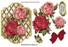 Pretty pink and red roses with gold butterfly on Craftsuprint - Add To Basket!