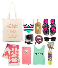 """Beach Bag Essentials"" by gabstiles on Polyvore featuring Zhuu, Sun Bum, Havaianas, Maybelline, GoPro, Billabong, Urbanears and Ray-Ban"