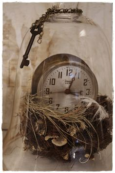 Clock and Nest Assemblage under Glass Cloche by lisaleo on Etsy