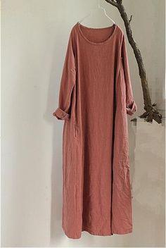2016 Autumn New Solid Color Women Maxi Dress Robe Cotton Linen Long Sleeve Round Neck Loose Plus Size Vintage Gown Long Dress