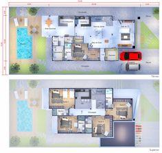 Plano de casa con un diseño moderno. Plano para terreno 15x30