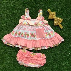 Peach & Gold Aztec Print Swing Top outfit with matching bloomers & headband