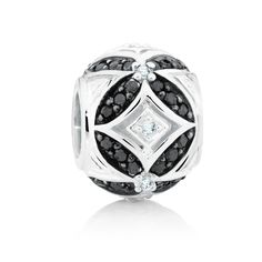 Sterling silver and diamond* charm (12368617) #marrakesh #emmaandroe *Coloured and black diamonds are irradiated and heat treated, respectively, to permanently enhance colour and may be sensitive to heat.