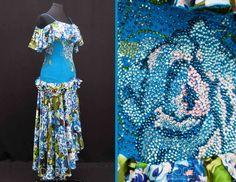Blue Smooth w/ Print Skirt Off the Shoulder Drape & Ruffle Hip