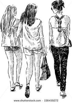 walking girls - stock vector