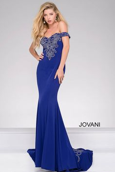 Royal Waterfall Back Off the Shoulder Dress 32360