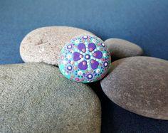 Mandala flower jewel stone hand painted blue by BenDyerOriginalArt