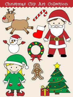 Royalty free vector graphics include a Christmas wreath, snowman, Santa Claus, reindeer, present, stocking, gingerbread man, elf, tree, and a candy cane.