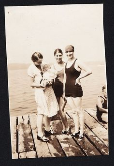 Old Vintage Antique Photograph Women With Baby in Bathing Suits on Dock