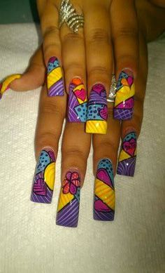 They are far too long but i like the patch work it looks really close to sally's dress Long Nails Different Nail Designs, New Nail Designs, French Nail Designs, Beautiful Nail Designs, Beautiful Nail Art, Gorgeous Nails, Dope Nails, Nails On Fleek, My Nails