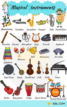 Musical Instruments Vocabulary in English Musical Instruments! Useful list of musical instruments with pictures and examples. Learn musical instruments names to improve and increase your vocabulary Learn English Grammar, English Verbs, Kids English, English Vocabulary Words, Learn English Words, English Language Learning, English Study, English Lessons, Teaching English