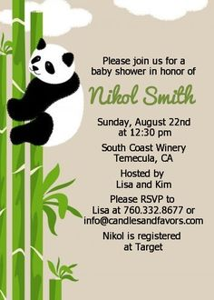 Panda - Baby Shower Invitations