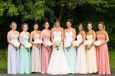 Multi-colored Pastel Bridesmaid Dresses