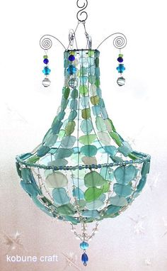sea glass chandelier   by kobunecraft