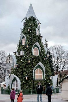 May your day be filled with happiness, hope, and joy! Christmas Love and Hugs. Picture here is a an enchanted Christmas Tree House at the Christmas Market in Vinius, Lithusania. Christmas Mood, Noel Christmas, Little Christmas, Christmas 2019, All Things Christmas, Baroque Architecture, Sacred Architecture, Theme Noel, Christmas Aesthetic