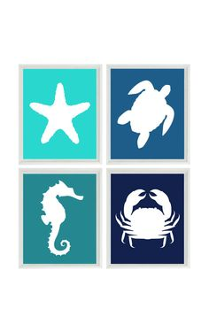 Beach Art Print Set - Nursery Bathroom Aqua Blue Navy - Sea Creature Seahorse Starfish Ocean - Beach House Wall Art Home Decor Set 4 8x10