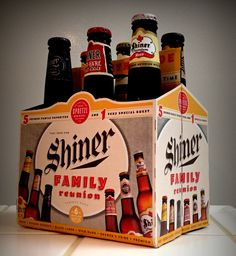 Shiner Family Reunion Six Pack 2013, with 6 different beers, including: Shiner Bock, Shiner Black Lager, Shiner Premium Lager, Shiner Wild Hare Pale Ale, Shiner Prickly Pear, Shiner Kosmos Reserve