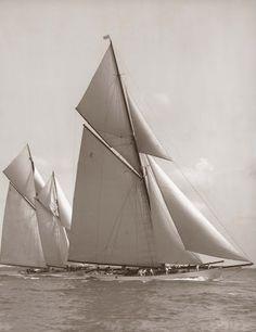Westward (Nathanael Greene Herreshoff, 1910) & Lulworth (Herbert William White, 1920) - photography: Frank William Beken, 1926