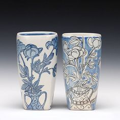 Julia Galloway  Still Life Tumbler Pair soda fired porcelain with multiple glazes and lusters  5 inches high