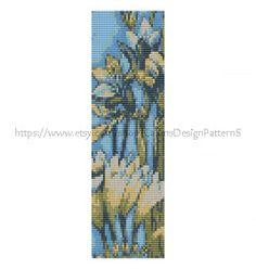 FREESIA IN BLUE LoomBeaded Cuff Bracelet by CajunsDesignPatternS, $5.50