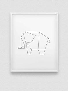 Origami-Elefant Drucken / / schwarz-rosa-blau-weiß von spellandtell