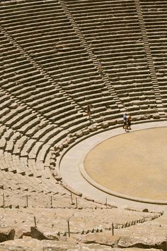 Greece, The Ancient Theatre of Epidaurus situated within the archaeological site of the Sanctuary of Asklepios, in the Argolis prefecture of the Peloponnese Ancient Greek Theatre, Ancient Greek Art, Ancient Ruins, Ancient Greece, Ancient History, European History, Egyptian Art, Ancient Artifacts, Ancient Egypt