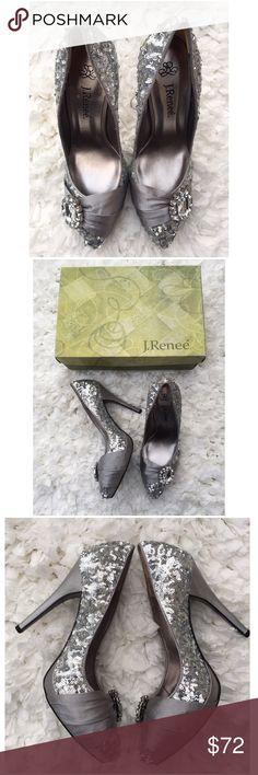 """New J Renee Silver Sequin Rhinestone Heels Sz 7 New J Renee Silver Sequin Rhinestone Heels Sz 7. Heel approx 3.5"""". 012517m J. Renee Shoes Heels"""