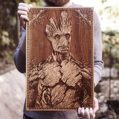 Laser Engraved Wooden Poster by SpaceWolf - Groot
