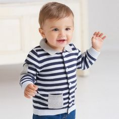 Boys cardigan with blue stripes – ukookoo Striped Cardigan, Knit Cardigan, Classic Outfits, Grey Stripes, Little Boys, Boy Outfits, Casual, Cotton, T Shirt