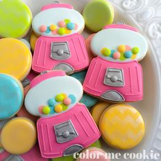 Tasty gumball machine cookies from color me cookie. Cookie cutter available on cookiecutterkdom.com