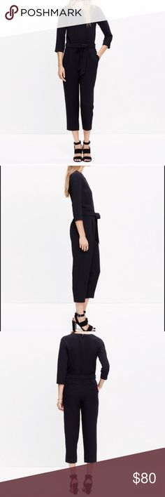 """NWT $138 Madewell Sloan Jumpsuit Sz S / 4 Black  Madewell   """"Sloan Jumpsuit""""   Size 4 / Small   Textured crepe. Relaxed, easy fit.   New with tags! Originally $138!   Polyester   Bust: 18"""" across the front, lying flat.   Inseam: 25"""".   Length: 53.5"""" from shoulder to hem.  ✳️ Bundle to Save 20%!  ❌ No Trades, Holds, PP, Modeling   100% Authentic!   ⭐️⭐️ Suggested User • 1300+ Sales • Fast Shipper • Best in Gifts Party Host! ⭐️⭐️ Madewell Other"""