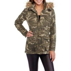 Maxwell Studio Women's Quilted Twill Parka with Fur-Trim Hood, Size: XL, Green
