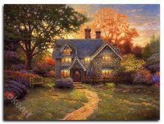 Gingerbread Cottage Pintura Colonial, Thomas Kinkade Art, Kinkade Paintings, Oil Paintings, Paintings Famous, Cheap Paintings, Thomas Kincaid, Art Thomas, Creation Photo