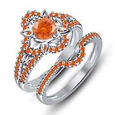 14K White Gold FN in 925 Silver Round Orange Sapphire Engagement Bridal Ring Set #br925