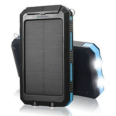 QueenAcc 10000mAh WaterShockDust proof Portable Solar Charger Solar Power Bank with LED Flashlight Portable Charger Dual USB External Battery Bank for iPhoneSamsung and Other USB DevicesBlue * Click for Special Deals  #SmartphoneSolarCharger