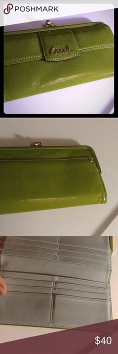 """Coach green patent leather wallet VGUC with only minor flaws/marks. Starting a couple small peels. Gold hardware, light blue leather interior with some darkening at one of the card slots. Striped kiss lock change compartment and striped slip pocket on back. Approx 7.75 x 4"""" Coach Bags Wallets"""