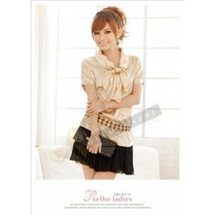 Golden Satin with Charming Bow Work Blouse $45.90 at www.Glamorazzi.com.au