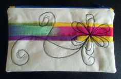 Zipped calico pouch - strips of procion dyed fabrics with machine embroidery - flower 2