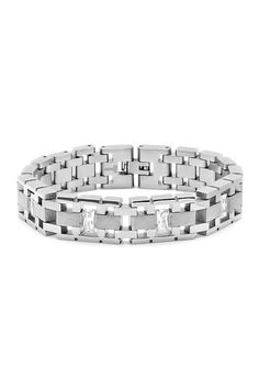 Simulated Diamond Link Bracelet by Steeltime on @HauteLook