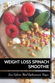 This low calorie weight loss spinach smoothie is not only delicious but it is the perfect replacement for an actual sit-down meal that you eat with a spoon.