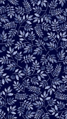 Pattern Play Foliage, by Mahani Del Borrello, for Picturette. Phone Backgrounds, Wallpaper Backgrounds, Wallpaper Art, Pattern Wallpaper Iphone, Dark Blue Wallpaper, Leaves Wallpaper, Bedroom Wallpaper, Screen Wallpaper, Blue Backgrounds