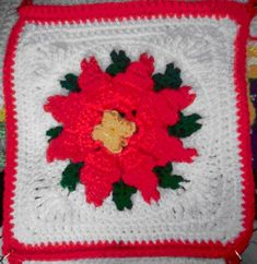 BONNIE'S POINSETTIA AFGHAN Square Crochet Pattern - Free Crochet Pattern Courtesy of Crochetnmore.com